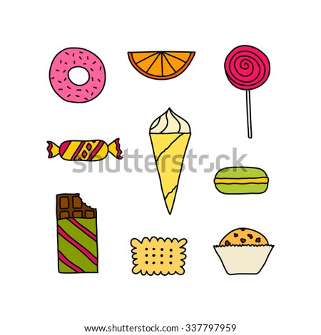 Hand drawn colorful icon set of cookies, chocolates, cakes and candies. Doodle pictogram collection of sweets. Sketch design elements in cartoon style. Tasty colors symbol collection of candies. - stock vector