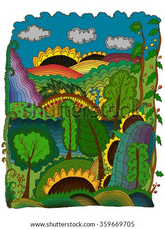 Hand drawn colorful image of a miracle rustic landscape. Can be used as wallpaper element, decoration of children toys and stuff, in public places design. Art therapy element.