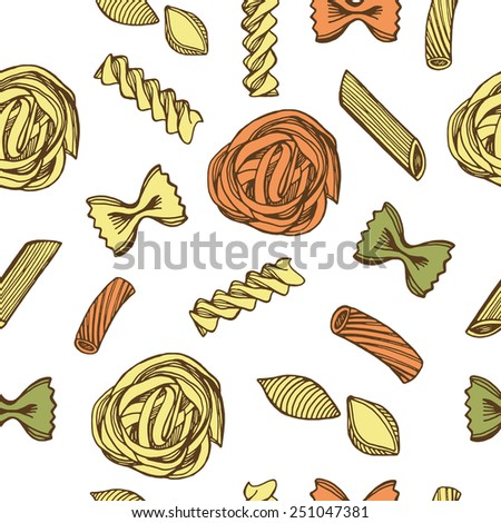 Hand drawn colorful Italian pasta seamless pattern.  - stock vector