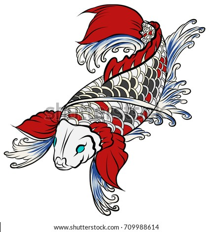 Hand drawn colorful koi fish water stock vector 709988614 for Traditional japanese tattoo rules