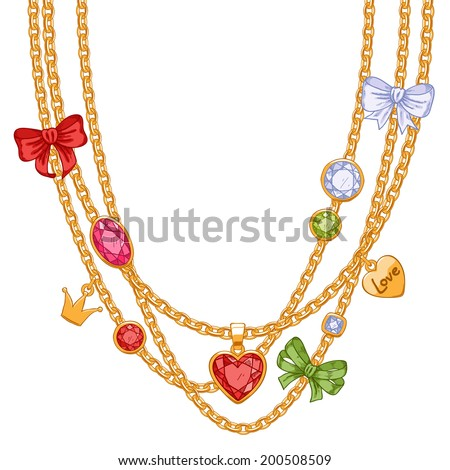 Hand drawn colorful necklace with golden chains, gemstones and bows. Sketch style. - stock vector