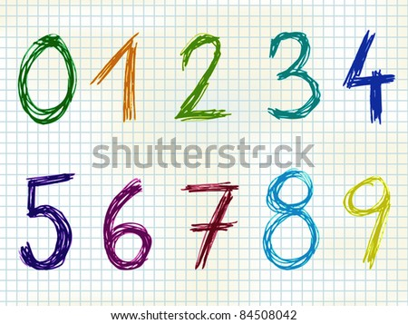 Hand Drawn colorful numbers - sketch - stock vector