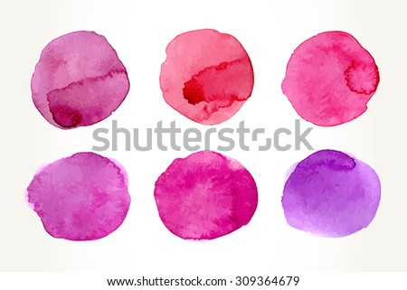 Hand drawn colorful pink watercolor circles, isolated over white. - stock vector