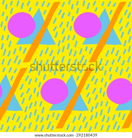 Hand drawn colorful retro pattern