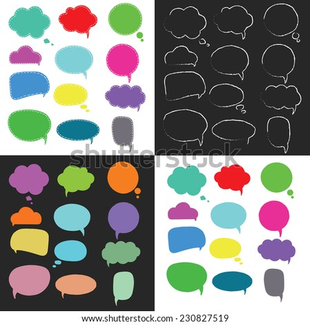 Hand-drawn colorful speech bubbles