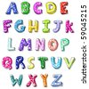 Hand drawn colorful vector ABC letters - stock vector