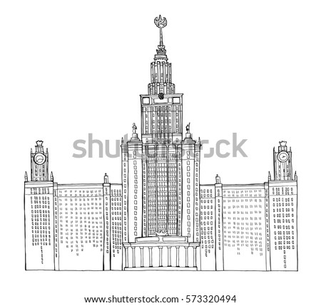 Hand Drawn Coloring Book Sketch Architecture Illustration Of Moscow State University Russia Vector