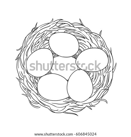 Hand Drawn Coloring Page Illustration Easter Stock Vector (Royalty ...