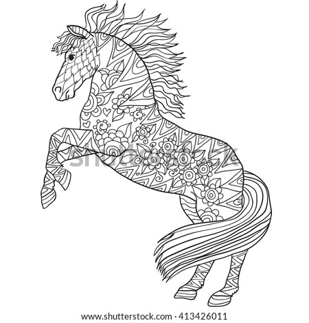 Hand Drawn Coloring Pages With Horse Illustration For Adult Anti Stress Books High
