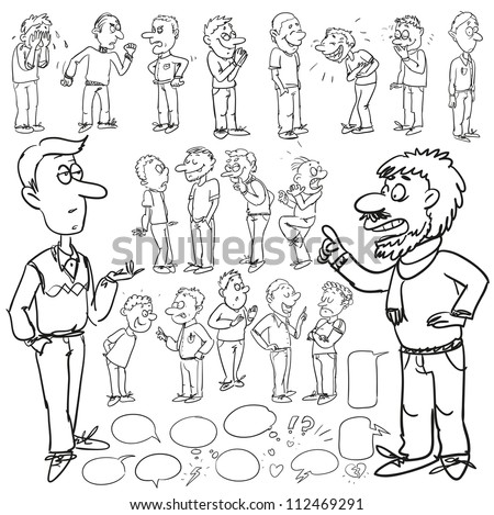 Hand drawn comic people, chatting men, expressions collection (plus speech and think bubbles), cartoon sketch - stock vector
