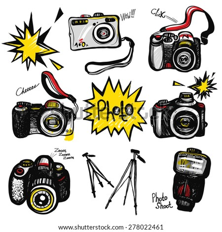 Hand drawn comics sketched camera, flash, tripod, lens. Set of modern photo items and stuff. Colored pop art sketch on white background