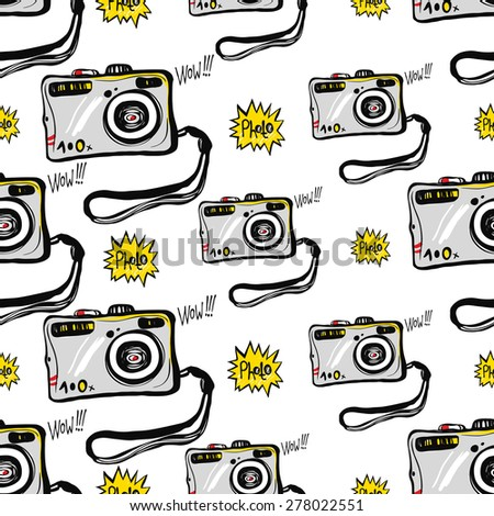 Hand drawn comics sketched flash and camera. Set of modern photo items seamless pattern. Colored pop art sketch on white background