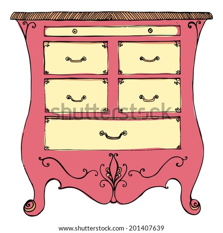 Hand drawn commode vector illustration. Vintage chest of drawers, rose and yellow colors. - stock vector