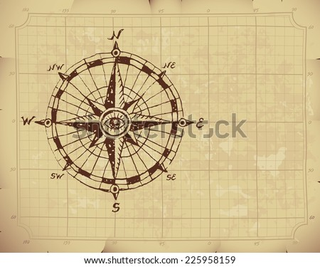 Hand drawn compass rose on old paper. Eps8. CMYK. Organized by layers. Global colors. Gradients used. - stock vector