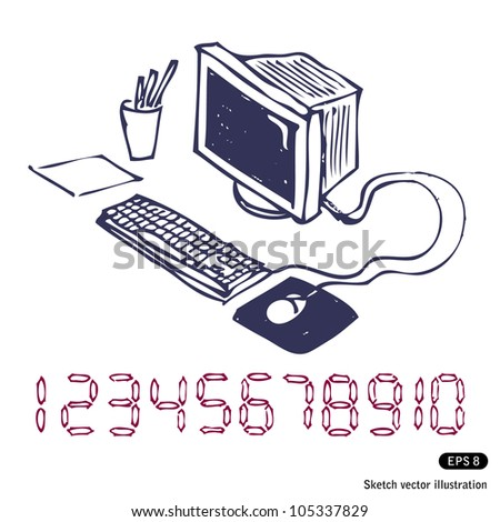 Hand-drawn computer. Hand drawn sketch illustration isolated on white background - stock vector