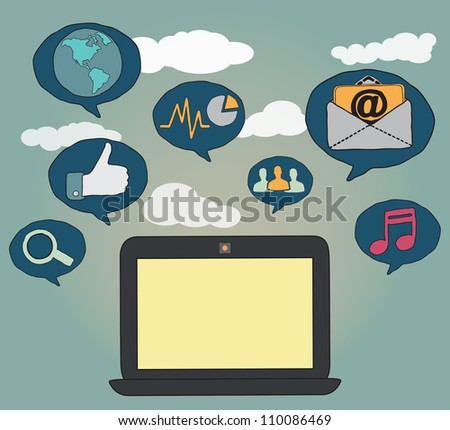 Hand-drawn concept of social media - vector illustration