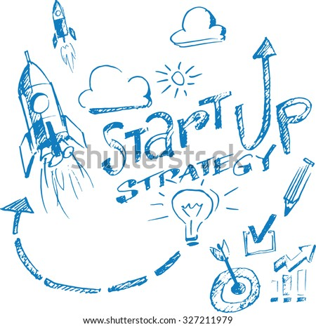 Hand drawn concept whiteboard drawing - startup strategy - stock vector