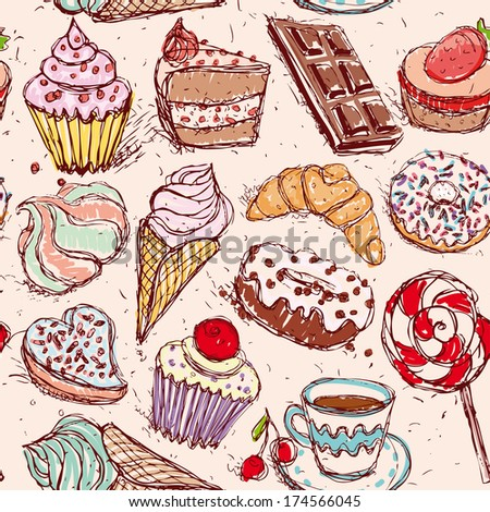 Hand drawn confectionery seamless pattern croissant Cupcake candy marshmallow ice cream cake donut and coffee. vector - stock vector