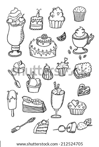 Hand Drawn Confectionery Sweet Set - stock vector