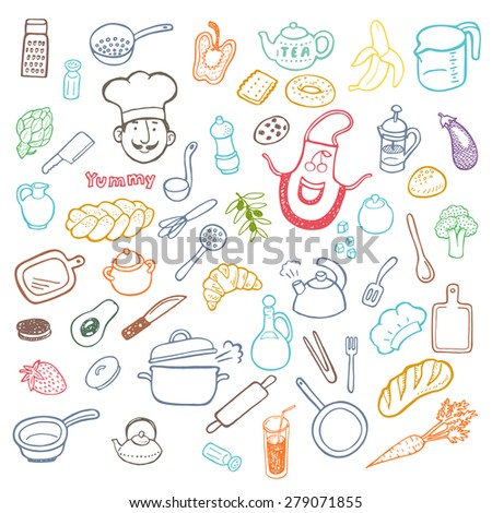 Hand drawn cooking and kitchen doodle set. - stock vector