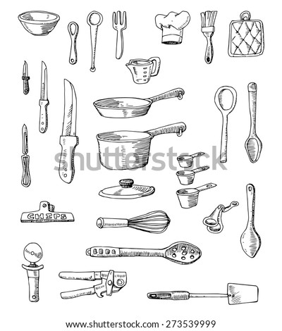 Hand-drawn Cookware Set Illustration - stock vector