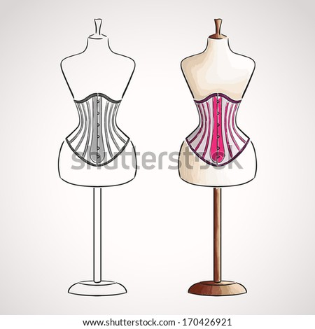 Hand drawn corset on mannequin. Silhouette and colored version - stock vector