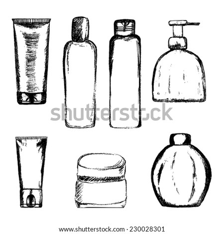 Hand drawn cosmetics tubes and bottles