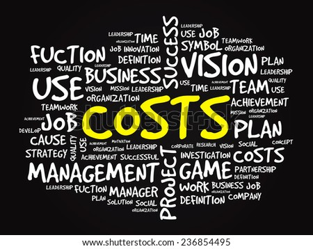 Hand drawn COSTS business concept in word tag cloud, vector background - stock vector