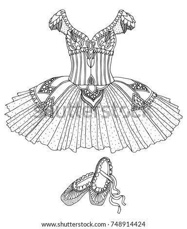 hand drawn costume ballerina dress shoes stock vector 748914424 shutterstock. Black Bedroom Furniture Sets. Home Design Ideas