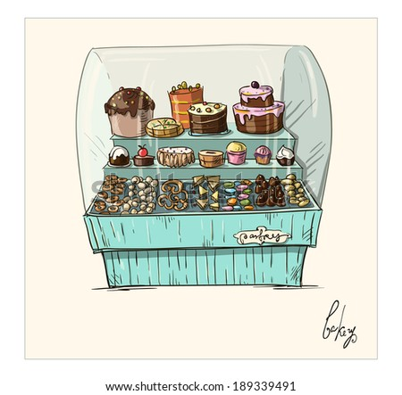 Hand drawn counter with bakery. Shopwindow with pastry illustration.  - stock vector