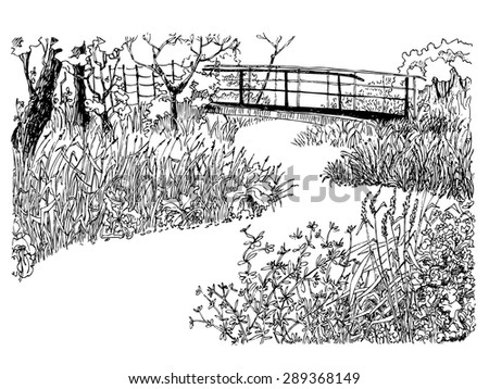Hand-drawn country landscape with river and bridge - stock vector