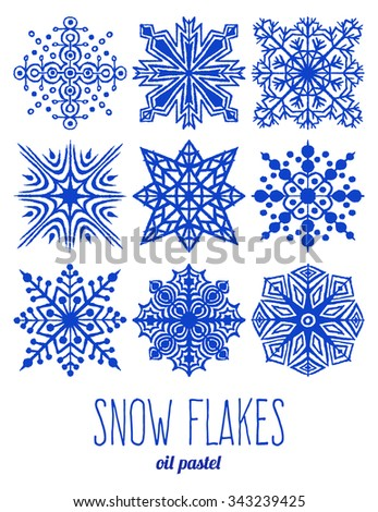 Hand drawn crayon snow flakes set. Hand made art with oil pastel. Graphic design elements collection. Abstract geometric snowflakes shapes. Isolated on white background. - stock vector