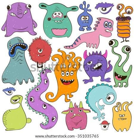 Hand drawn creative set of isolated colorful cartoon monsters. - stock vector