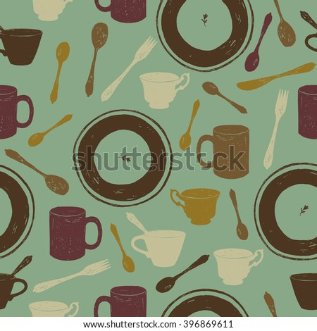 hand drawn crockery seamless pattern vector illustration - stock vector