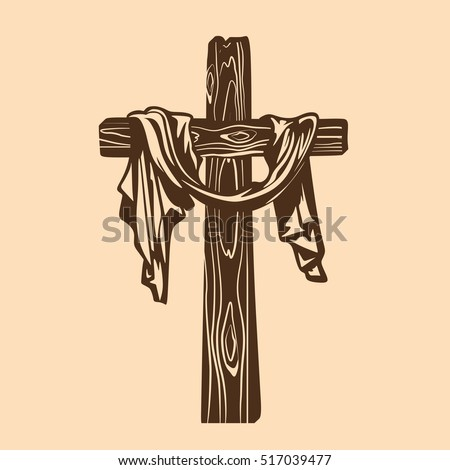 Handdrawn Cross Jesus Christ Drapery Stockvector 517039477