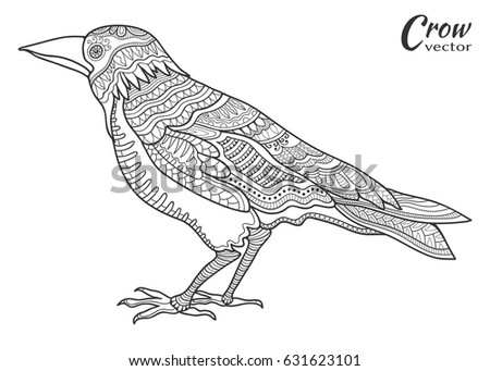 doodle sketch bird in zentangle style for coloring book page - Coloring Book Paper Stock