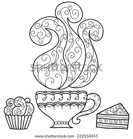 Hand drawn cup of coffee and cakes. Vector illustration - stock vector