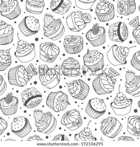 hand-drawn cupcakes seamless pattern