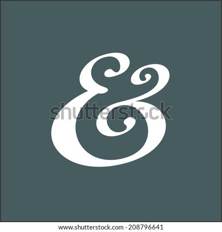 Hand drawn custom ampersand. Decorative ampersand symbol