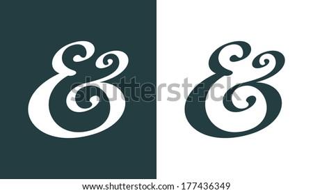 Hand drawn custom ampersand. Decorative ampersand symbol for wedding invitation. Vector illustration - stock vector