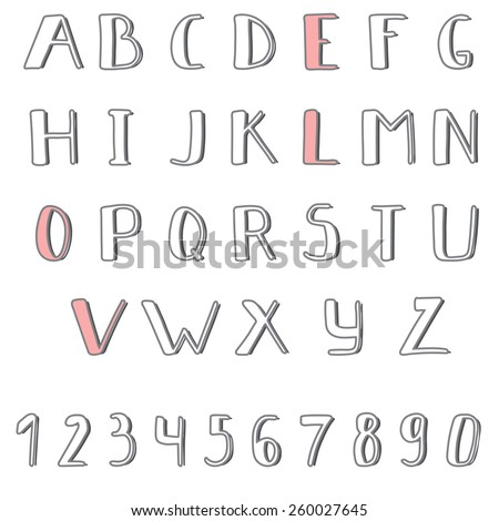 Hand drawn cute alphabet. Comic Cartoon Font. Vector illustration - stock vector