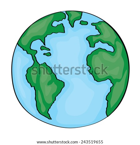 Hand drawn cute cartoon earth america. Vector - stock vector