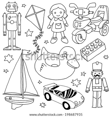 Hand drawn cute doodle toys set 4. Vector illustration. - stock vector