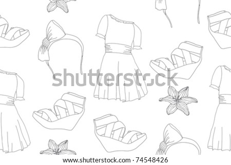 Hand drawn cute fashion seamless pattern with dresses, wedge sandals, headbands and flowers.