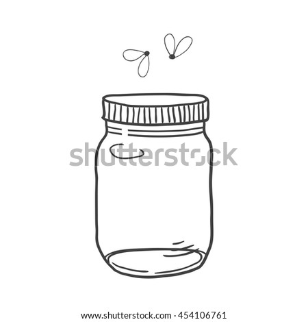 Hand drawn cute vector illustration of a mason jar with fireflies, summer, dreams, wedding and romance concept illustration - stock vector