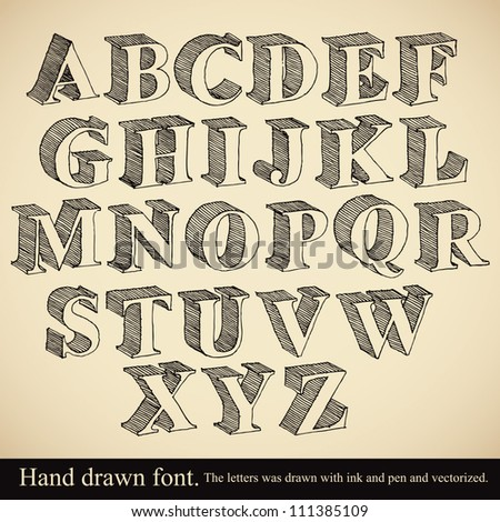 Hand drawn 3d font, vector alphabet vintage style. - stock vector