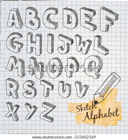 Hand Drawn 3D sketch alphabet with squared vintage background. - stock vector