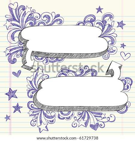 Hand-Drawn 3D Speech Bubbles Sketchy Notebook Doodles with Shooting Stars and Swirls- Vector Illustration Design Elements on Lined Sketchbook Paper Background - stock vector