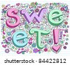 Hand-Drawn 3D SWEET Valentine's Lettering Psychedelic Groovy Notebook Doodle Design Elements on Lined Sketchbook Paper Background- Vector Illustration - stock photo