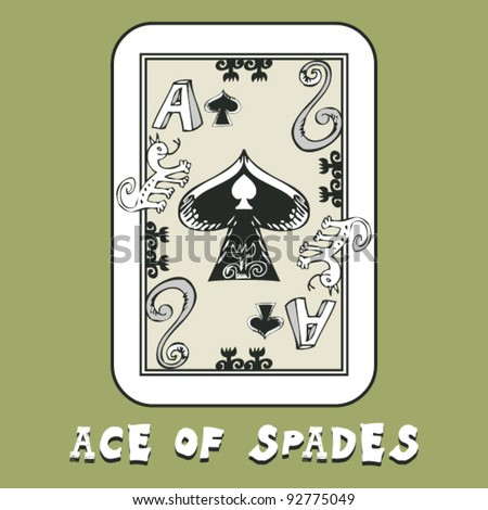 hand drawn deck of cards, doodle ace of spades - stock vector